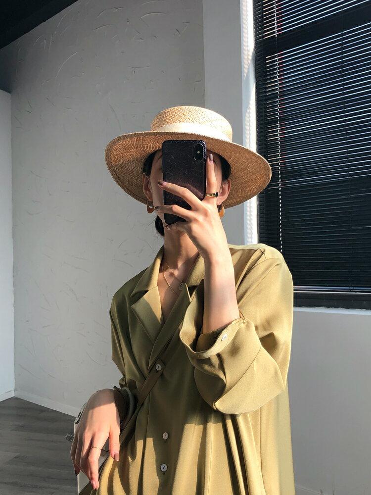 【菲律賓進口寶草】平頂草帽女夏英倫復古法式優雅名媛禮帽遮陽帽1入