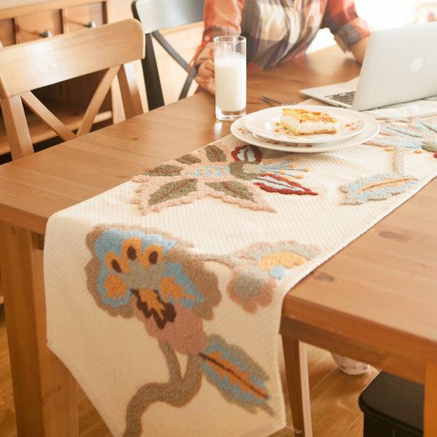 美式鄉村刺繡桌布手工布藝 餐桌旗 桌布 鞋櫃蓋布 桌巾 歐式桌旗/單售