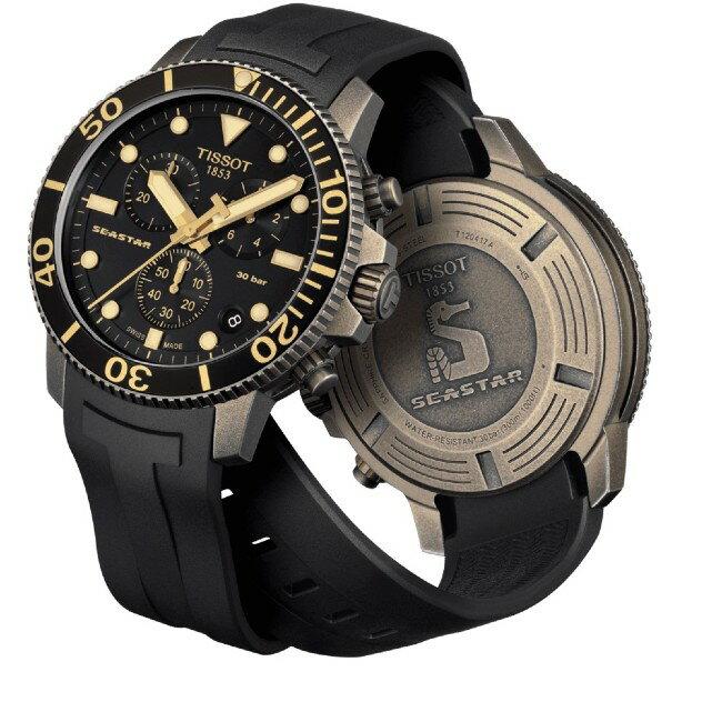 TISSOT 天梭表 T1204173705101 SEASTAR 1000 CHRONOGRAPH 海洋之星潛水機械腕錶 / 黑 45.5mm 1