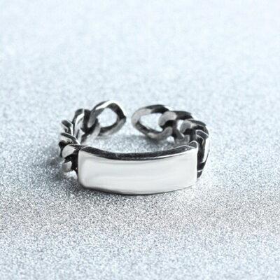 925純銀戒指光面開口戒~ 大方鎖鏈復古情人節生日 女飾品73gp53~ ~~米蘭 ~