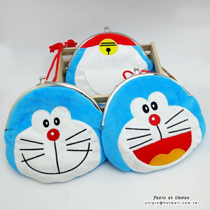 【UNIPRO】哆啦A夢 小叮噹 Doraemon 頭型 口袋 造型 掛繩 珠扣 夾框 零錢包 絨毛 零錢包 大