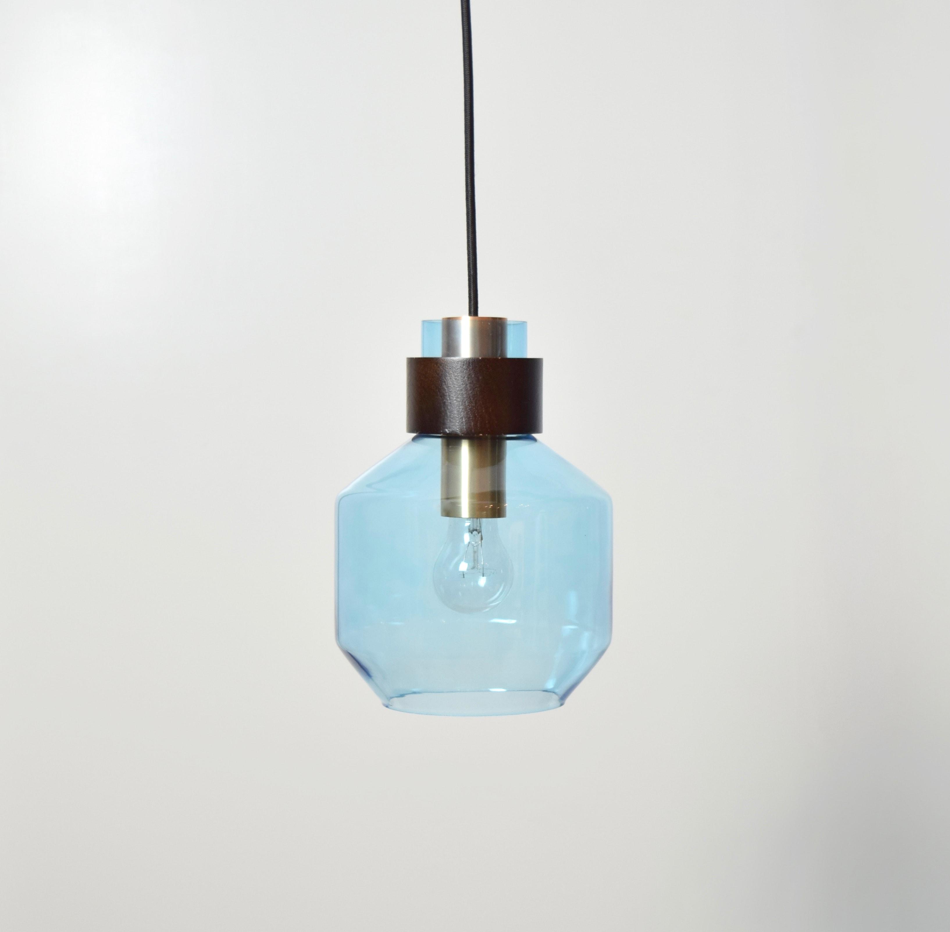 水藍色寬酒瓶造型吊燈-BNL00122 1