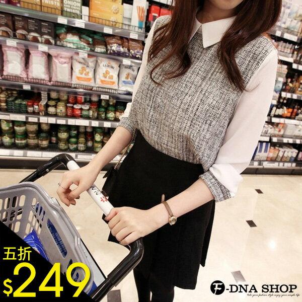 F-DNA★假兩件亞麻拼接雪紡長袖襯衫(灰-S-XL)【ESD1203】