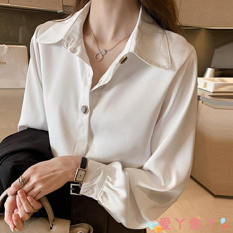 雪紡上衣 早春白色雪紡襯衫女職業春裝女裝寬鬆大碼長袖上衣設計感小眾襯衣