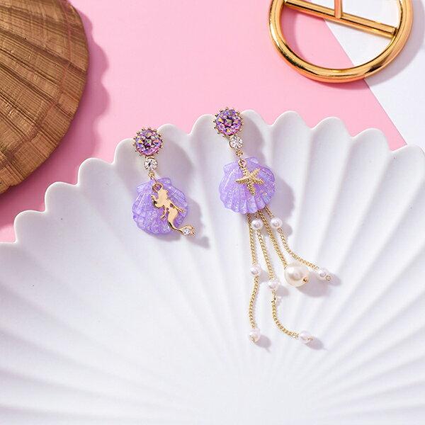 PS Mall 小清新海洋美人魚貝殼不對稱珍珠流蘇耳環 【G092】 1