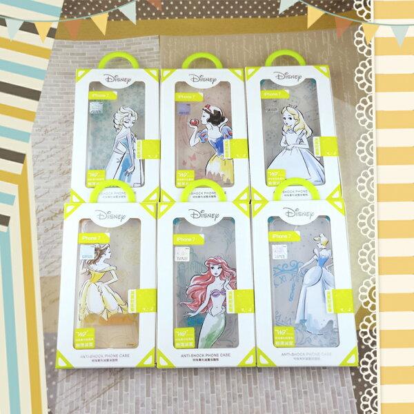 時代通訊:☆iPhone7迪士尼WaKase專利吸震角保護殼-公主風