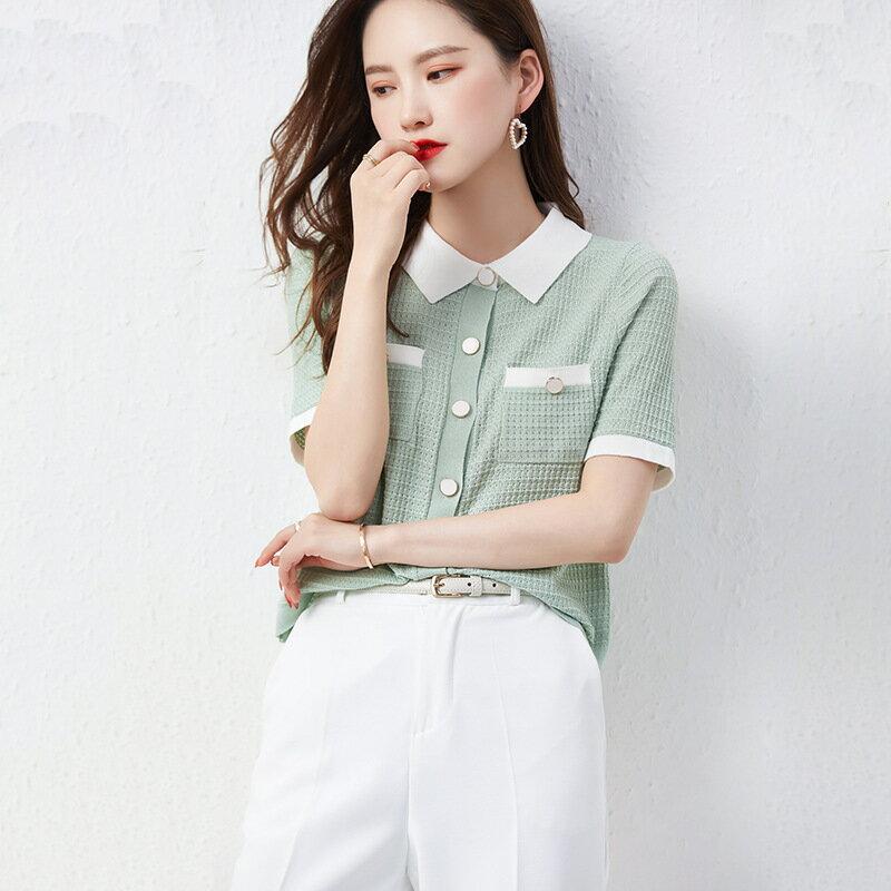 全店一件免運✦氣質小香風翻領冰絲薄款針織衫2021夏季新款女裝寬鬆短袖t恤上衣✦女裝