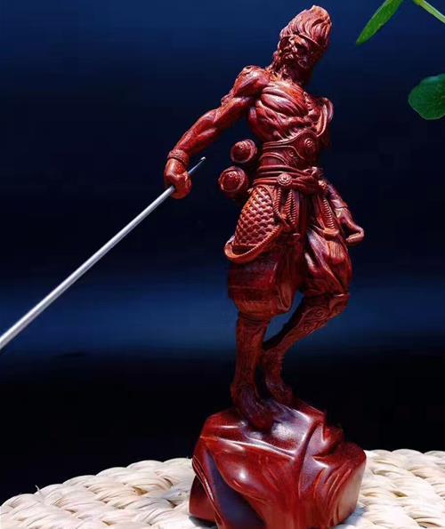 贊比亞血檀木雕把件 家居飾品雕刻工藝品猴子擺件齊天大圣孫悟空1入