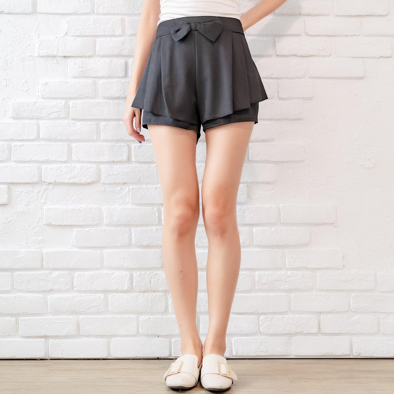 褲裙--甜美女孩活潑俏皮大蝴蝶結後褲頭抽皺鬆緊設計褲裙(黑.灰XL-5L)-R176眼圈熊中大尺碼 0
