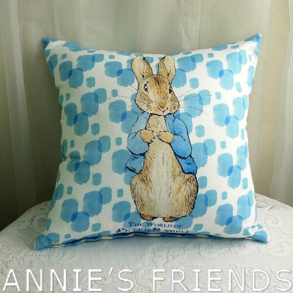 《比得生活館》PeterRabbit抱枕靠枕藍點立兔