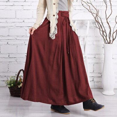 長裙棉麻半身裙子-簡單素面綁繩設計女裙裝6色73hr2【獨家進口】【米蘭精品】
