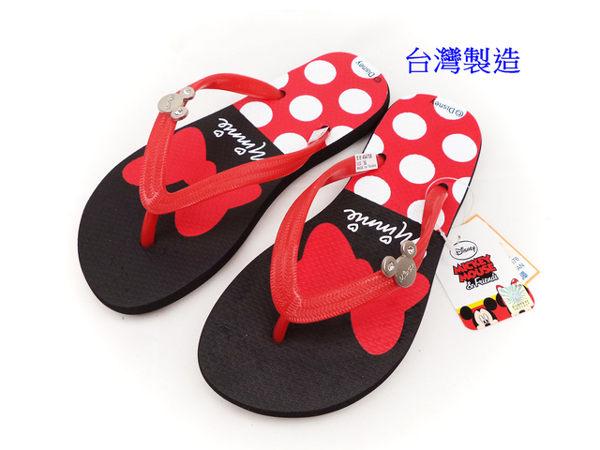 EMMA商城^~Disney迪士尼可愛米妮夾腳拖鞋紅色36~40號^(親子款^)