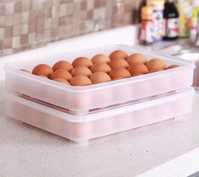 【雞蛋收納盒-24格-單層-PP-1個/組】大容量蛋盒 24格雞蛋收納盒塑膠保鮮盒冰箱帶蓋儲物-726004