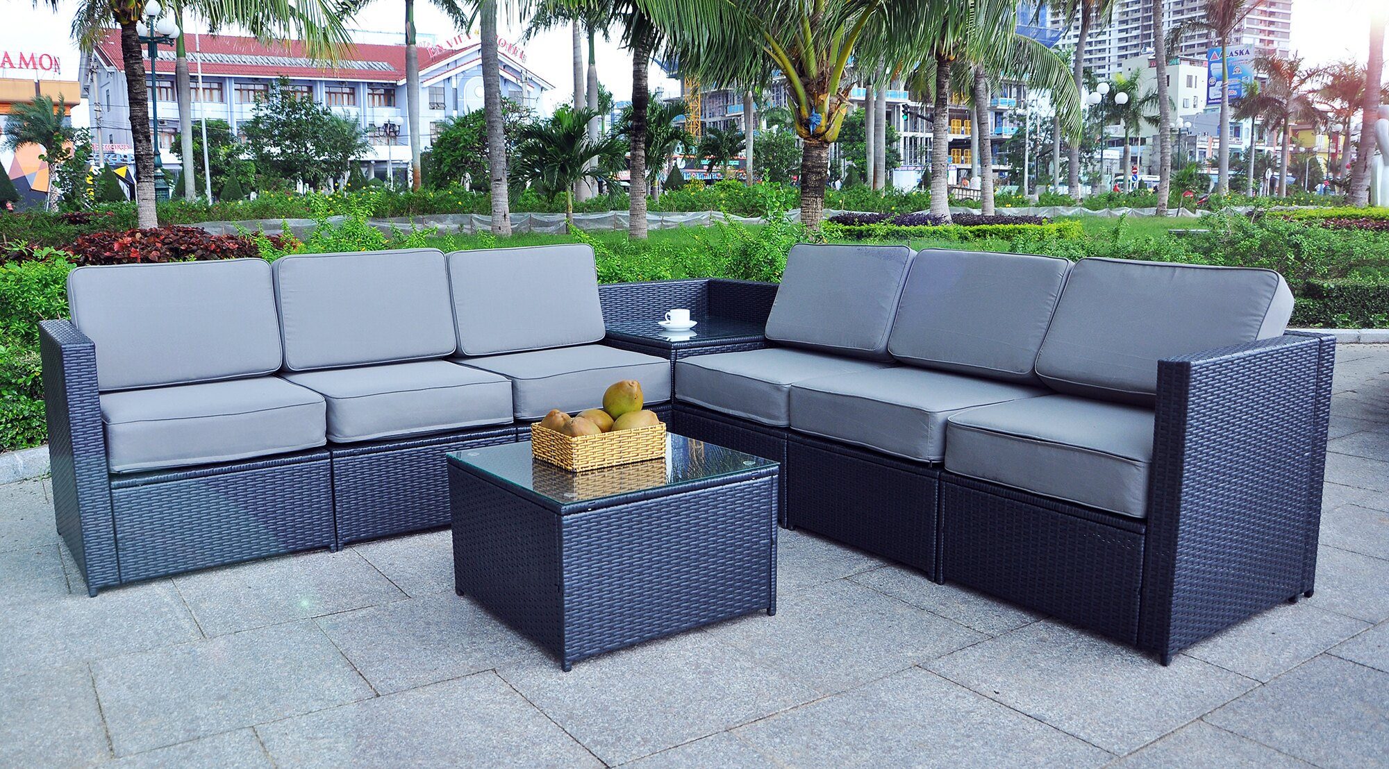 Mcombo Mcombo Black Wicker Patio Sofa Steel Outdoor Patio Furniture