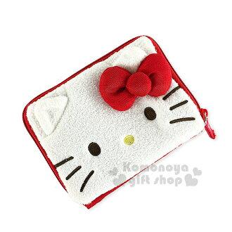 〔小禮堂〕Hello Kitty 絨毛短夾《白紅.大臉.立體耳朵&蝴蝶結》吊帶褲設計