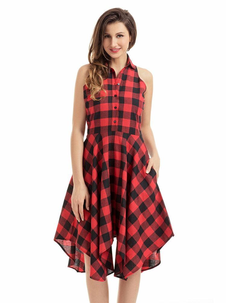 歐美時尚特色格子印花無袖不規則裙擺襯衫式休閒連身裙洋裝 4色 61513