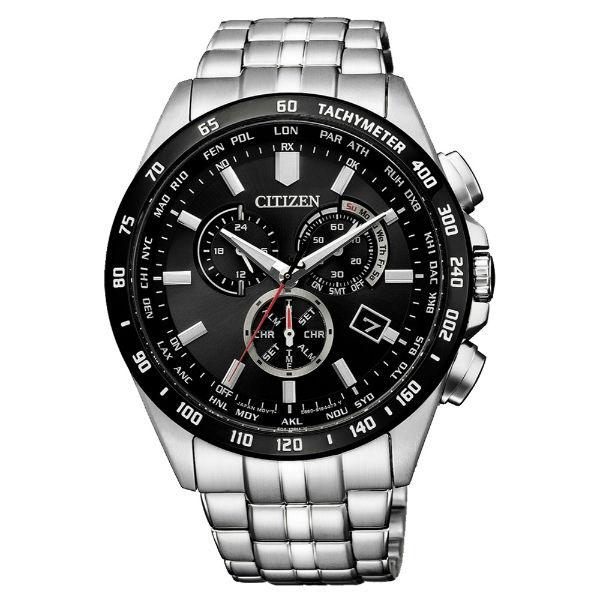 CITIZEN 星辰錶 CB5874-90E Gent's時尚男錶 光動能電波三眼腕錶 / 黑x銀 43mm