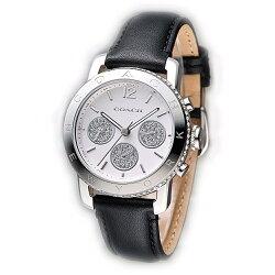 COACH 時尚三眼亮麗風格女腕錶/白面x黑皮/36mm/14501972