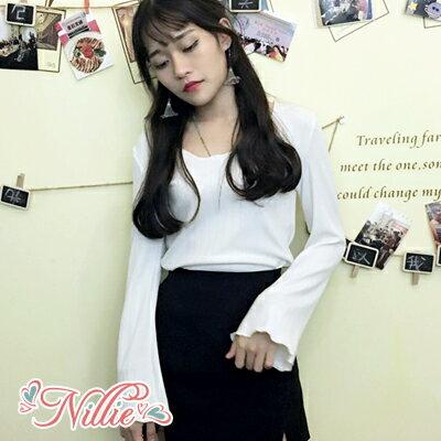 Nillie‧素色直紋荷葉滾邊寬長袖針織上衣02 21^(白 灰 紅^)~N89192~