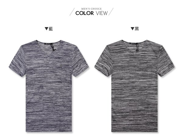 ☆BOY-2☆【LL1005-1】休閒素面線條修身V領短袖T恤 1