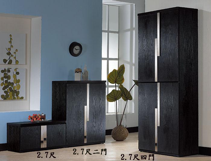 【尚品傢俱】JF-301-1 艾克2.7尺黑色座鞋櫃~另有二門,四門