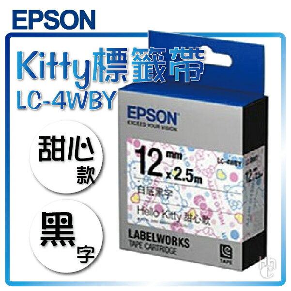 【和信嘉】EPSON LC-4WBY Hello Kitty 標籤帶 甜心款(白底黑字) 12mm 色帶 姓名貼 LW-200KT