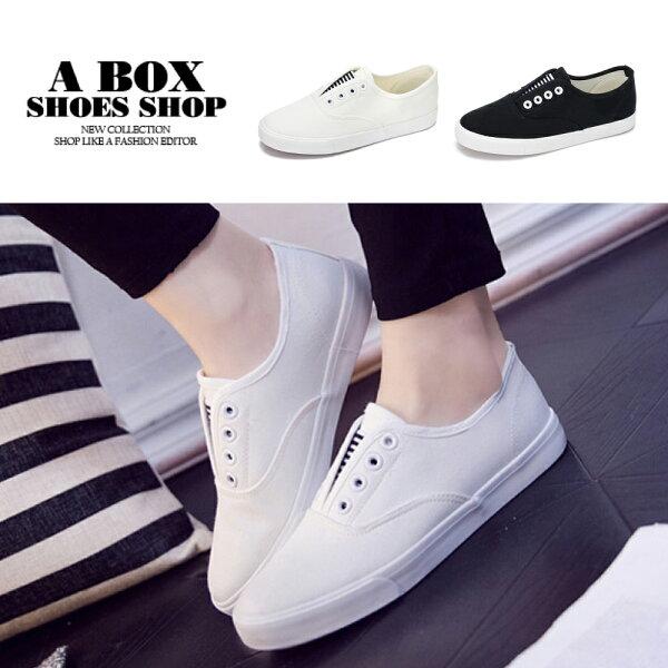 【ASN8081】2.5CM帆布鞋百搭復古無綁帶帆布休閒鞋學生基本款小白鞋2色
