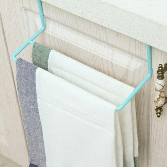 ●MY COLOR●塑料門背式簡易置物架 創意 廚房 櫥櫃 門背 單桿 毛巾架 掛抹布 掛架【P489】