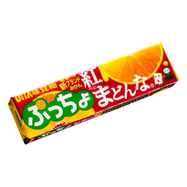 【UHA味覺糖】噗啾愛媛紅蜜柑條糖 QQ夾心軟糖 50g????????? 紅???? 日本零食