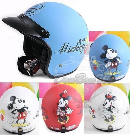 迪士尼米奇米妮機車安全帽半罩式霧面亮面復古插畫032402海度