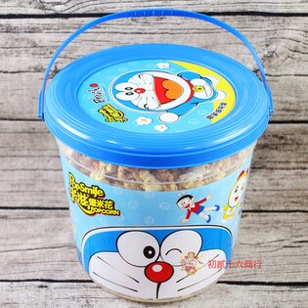 【0216零食會社】卡滋Doraemon爆米花_雙味超級桶530g
