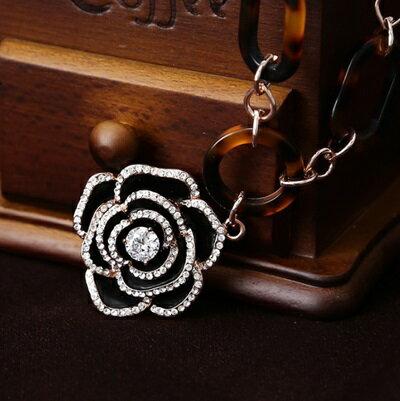 玫瑰金項鍊 鑲鑽純銀吊墜 ~ 優雅精美山茶花情人節生日 女飾品73dw15~ ~~米蘭 ~