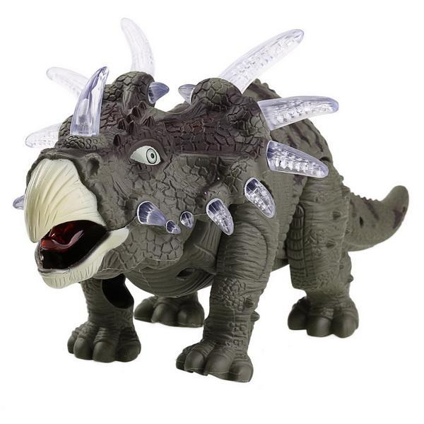 Battery Powered Triceratops Dinosaur Toy Realistic with Sounds Lights Walks Roar 1