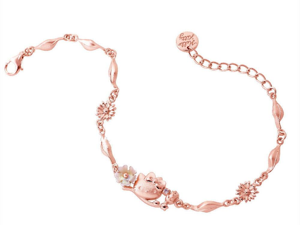 Hello Kitty浪漫花系列 純銀手鍊 HCV-583 玫金 晶漾金飾鑽石JingYang Jewelry