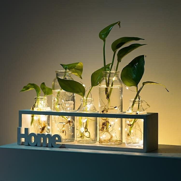 小清新玻璃花瓶透明插花花器客廳家居裝飾擺件