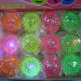 LED按摩球 直徑7.5cm安全發光球 LED彈力球 LED玩具球(空心)/一個入{促39}~YF9597