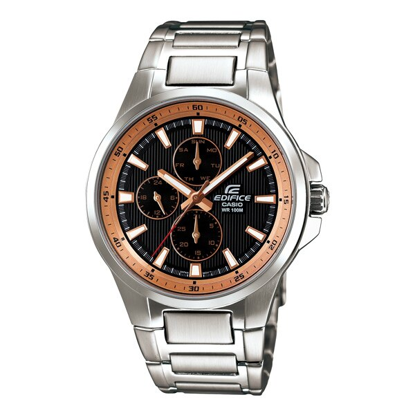 CASIO EDIFICE EF-342D-1A5VDF三眼運動流行腕錶/黑面42mm