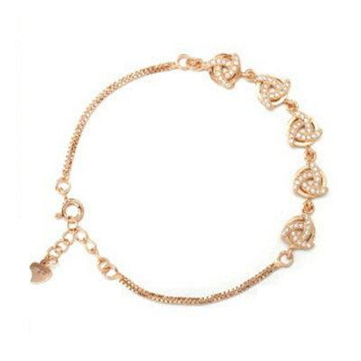 玫瑰金手鍊 鑲鑽純銀手環 ~ 高貴華麗氣質情人節生日 女飾品2色73dl72~ ~~米蘭