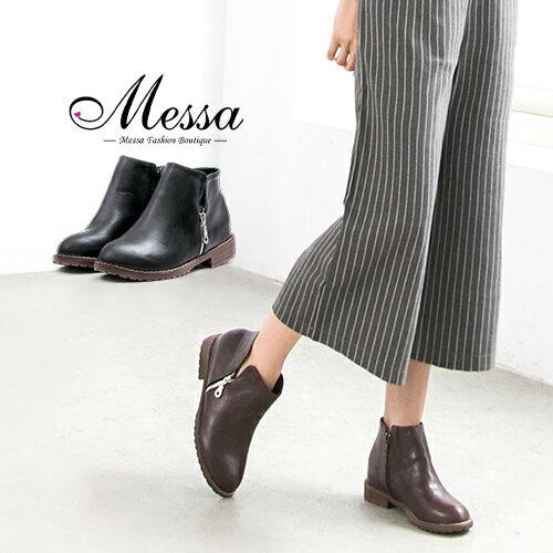 【Messa米莎專櫃女鞋】簡約V口剪裁側邊經典拉鍊低跟短靴-兩色