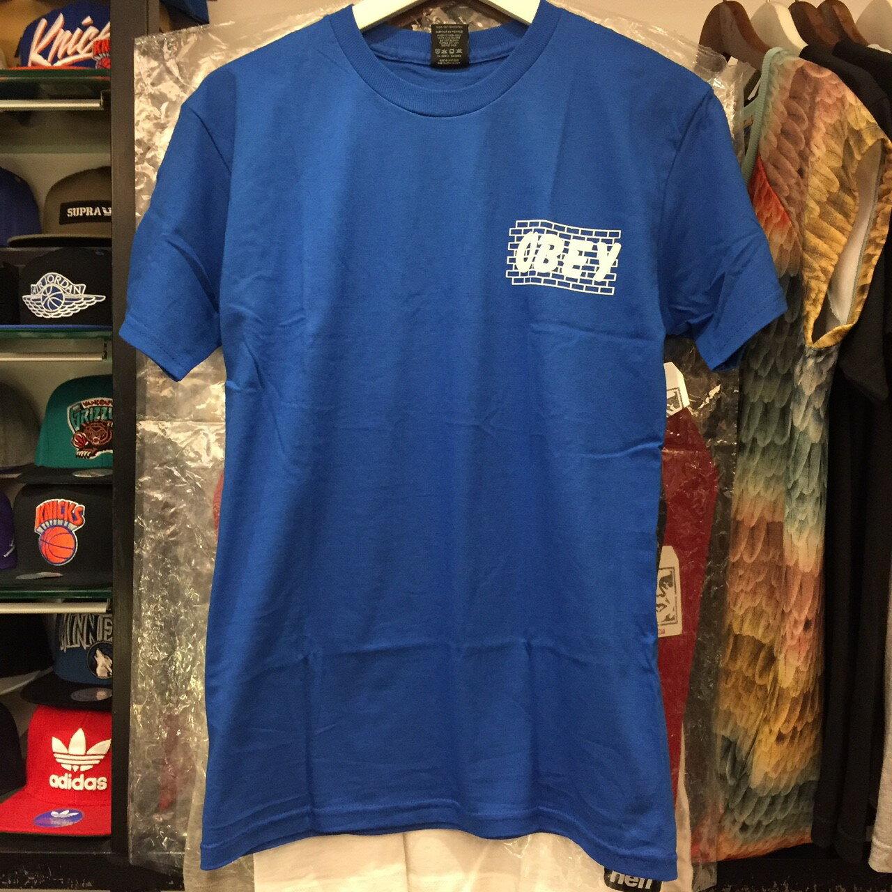 BEETLE PLUS 西門町經銷 全新 美國品牌 OBEY BRICK WALL TEE 磚牆 寶藍 白字 藍白 LOGO 短T TEE 163081179ROY OB-419 0