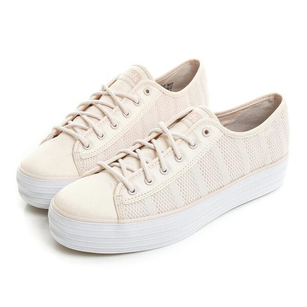 【Keds促銷85折│全店免運】TRIPLEKICK透氣網布厚底綁帶休閒鞋-牡丹粉