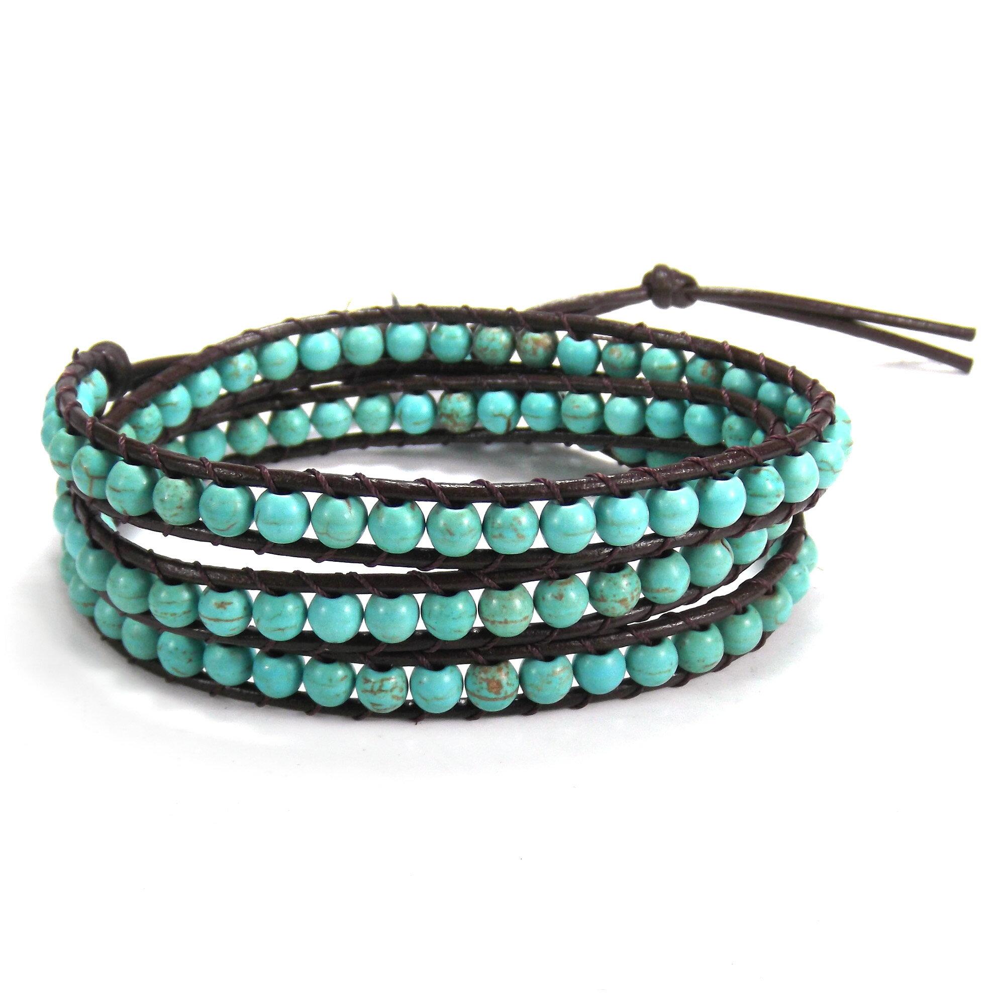 Blue Muse Turquoise Gemstone Tribal Wrap Leather Bracelet (Thailand) 0