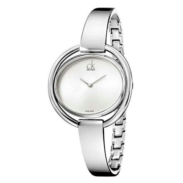 大高雄鐘錶城:CK纏綿系列(K4F2N116)時尚銀手環腕錶白面35*30mm