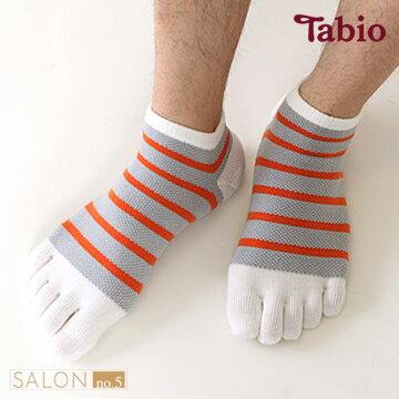 日本靴下屋Tabio  男款網眼條紋棉質運動五趾襪 - 限時優惠好康折扣