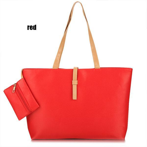Synthetic Leather Solid Shoulder Tote Bag Handbag 2