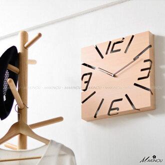 壁鐘 日本MAKINOU-木質方型鏤空鐘-台灣製 日本牧野 時鐘藝術鐘造型鐘搖擺鐘數字鐘 MAKINO