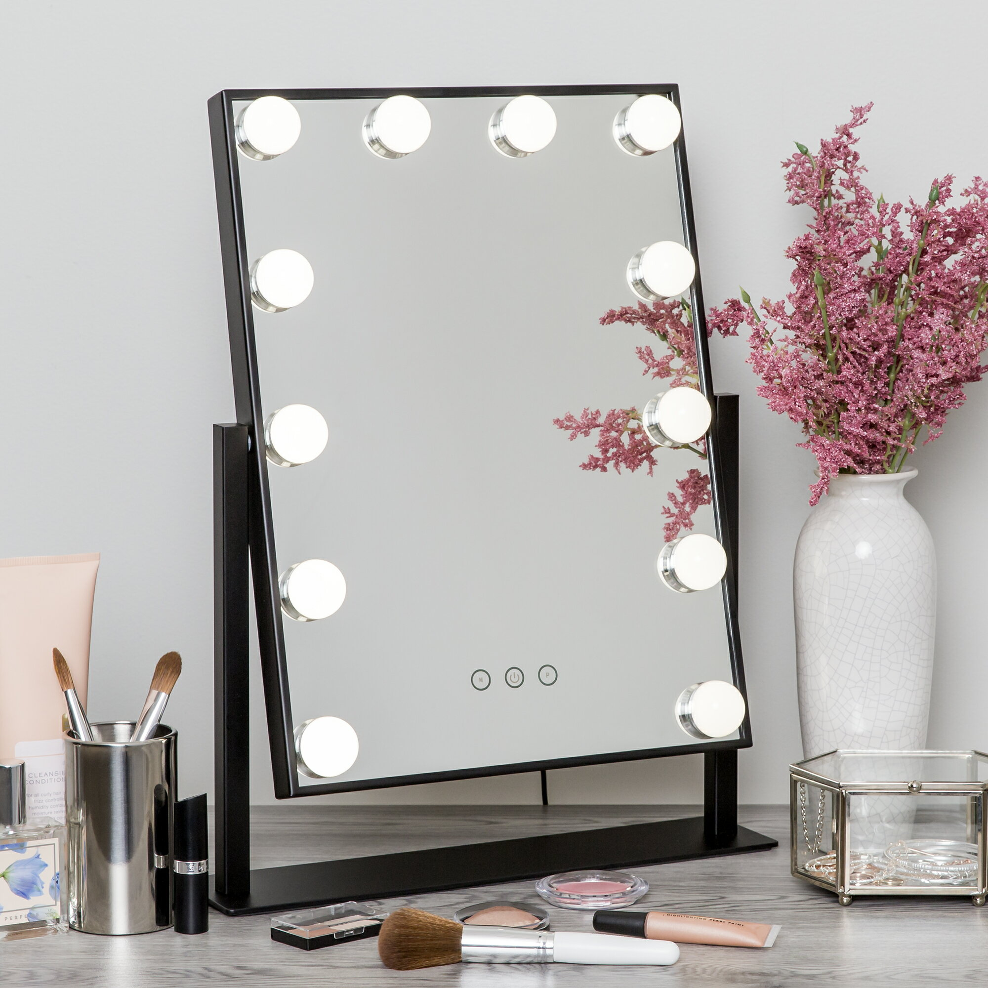 Best Vanity Mirror >> Best Choice Products Smart Touch Lighted Vanity Mirror W 12 Leds Adjustable Brightness And Color Temperature Black