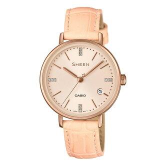 CASIO SHEEN SHE-4048PGL-9A三針簡約流行腕錶/粉橘色32mm