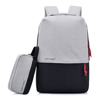 後背包撞色電腦包-USB接口多功能大容量男女雙肩包4色73ru38【獨家進口】【米蘭精品】