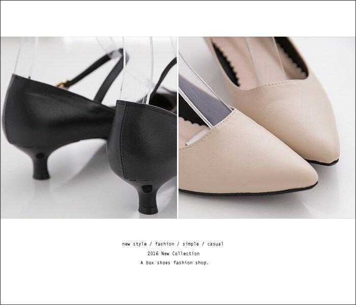 格子舖*【AA701】 MIT台灣製 氣質典雅素麵皮革 3.5CM細低跟 繞帶扣環 瑪莉珍尖頭高跟鞋  2色 1